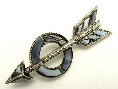 Antique VICTORIAN c1890 Sterling Silver Scottish Agate Lovers Arrow Brooch