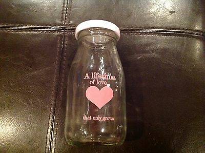 """Minature Glass Milk Bottle - w/Pink heart """"A Lifetime of love that only grows"""""""