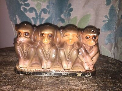 Vintage Three (4) Wise Monkeys  Money Box -  Hear See Speak Do No Evil RARE