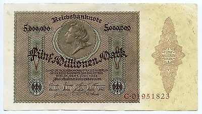 billets Allemand 5 Millions de Mark 1923  pick 90 XF