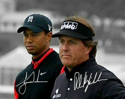 Tiger Woods Phil Mickelson PGA Golf Signed Photo Autograph Reprint