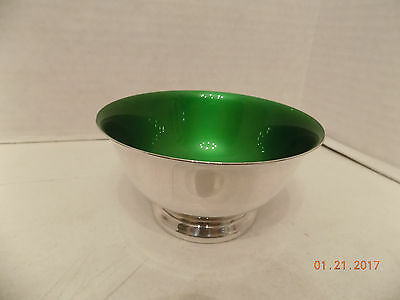 Reed & Barton 101 Silver Plated Bowl/Candy Dish - Green Enamel - free shipping