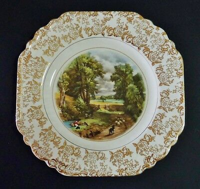 1940s BCM LORD NELSON Constable CORNFIELD print CAKE SERVING PLATE  HIGH TEA