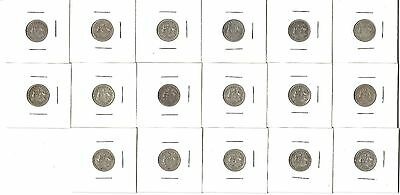 Bulk Lot of 17 George V Australian Three Pence Sterling Silver in 2x2 cards