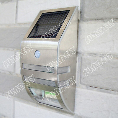 PIR Motion Sensor Solar Powered LED Security Garden Wall Door Step Outside Light