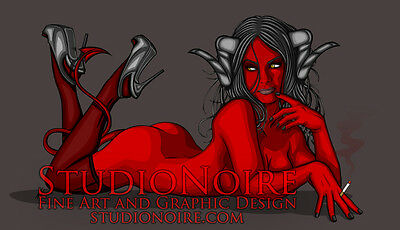Smoking Demon Lowbrow Pinup Girl Art Print