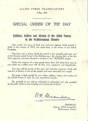 WW2 special order of the day 2 May 1945 allied document Mediterranean theatre