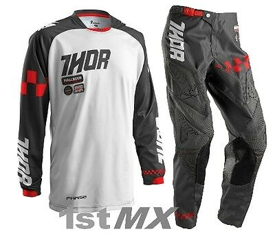 """2016 Thor Phase Ramble MX Motocross Gear Kit Charcoal White Adult 30"""" Small"""