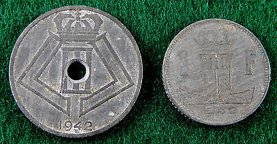 "1942 Belgium WWII 25 Centimes & 1 Franc Coin ""Lot of 2 Coins""  SB3233"