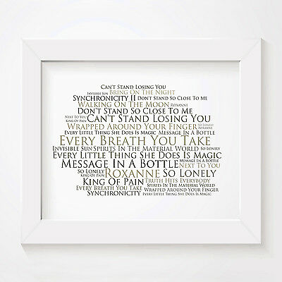 `Platinum` THE POLICE Art Print Typography Song Lyrics Signed & Numbered Poster