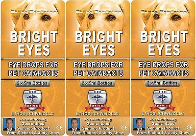Ethos Bright Eye Drops For Cataracts For Dogs & Pets 3 Boxes 30ml