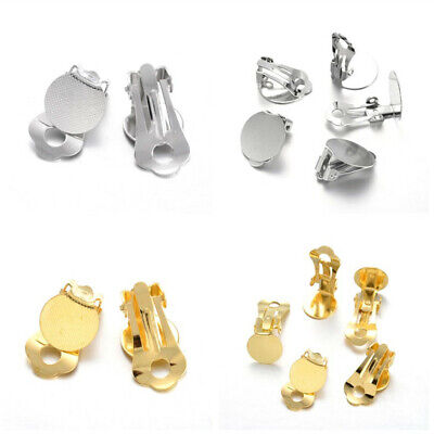 Brass Clip-on Earring Components Earring Converter Finding Flat Round Tray