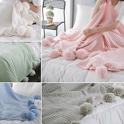 New 100% Cotton PomPom Knitted Blanket Home Decor Bed Spread Throw Rug 150x200cm