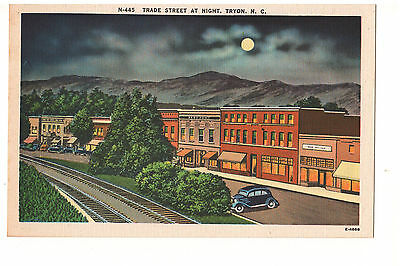 Vintage Trade Street postcard Tryon NC linen 1936 Ford Free shipping