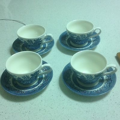 Set of 4 -Blue Willow Cup And Saucer Churchill Staffordshire England