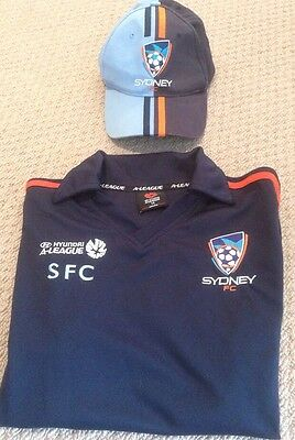 Sydney FC Soccer Collared Top Size 14 And Cap Adjustable SFC A-League