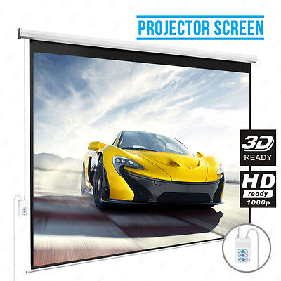 100'' 16:9 Electric Projection Screen Matte White Pull Down Projector Cinema