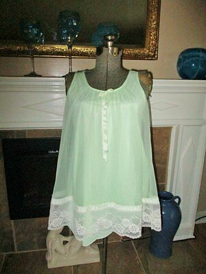 Sassy Vitage Babydoll Nightgown Small Mint Green Silky Vintage Lingerie