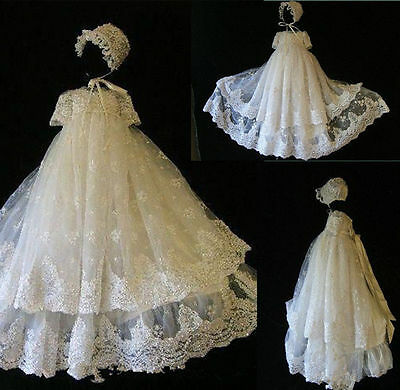 Lace Toddler Baby Baptism Christening Gown White/Ivory First Communion Dresses