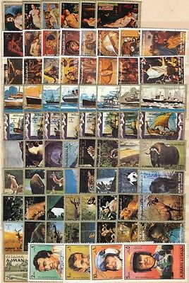 COLLECTION OF 99 Ajman Manama Stamps ALL GOOD USED 2 SCANS.