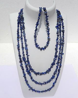 """499Cts Natural Genuine Natural Lapis Lazuli  Chip Nugget Necklace Beads 100"""""""