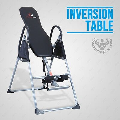 Fitness Club Black Inversion Table  Chiropractic Back Pain Relief Reflexology