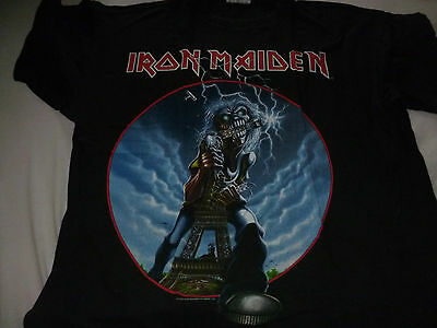 Iron Maiden Very Rare Event Shirt Xl With Dates I Survived Paris Metallica