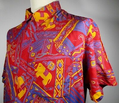 """Vintage Mens 80s Red Paisley/Elephant Print Shirt LARGE 46""""(44-46) African Style"""