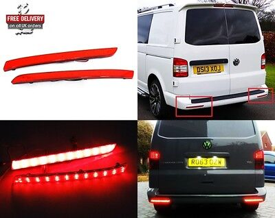 2x VW Transporter T5 2012-16 Red Rear Bumper Reflector LED Tail Stop Brake Light