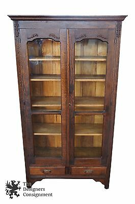 Antique Mission Quartersawn Oak Library Bookcase Arts + Crafts Display Cabinet