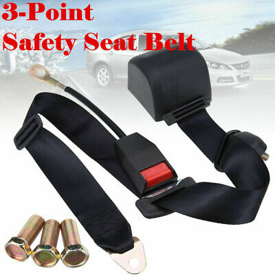 1xUniversal 3 Point Retractable Car Seat Belt Bolt Extension Safety Strap Buckle