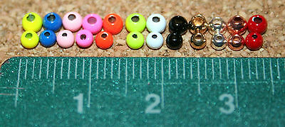 Fly Tying Brass Beads 2.5mm/3mm metallic and painted colours, 25 per bag