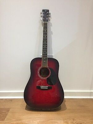 Cherry Red Black Acoustic Guitar With Gig Bag
