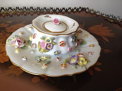 Antique 19C Meissen Floral Encrusted Porcelain Inkwell And Plate