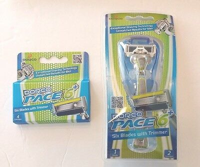 Dorco Pace 6 Plus - Six Blade Razor Shaver System with Trimmer Combo Pack