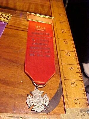 Vintage 1968 N.j.  Firemens Ribbon Badge 91St Annual Convention Atlantic City