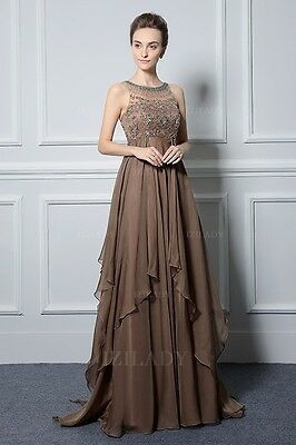 Brown Chiffon Mother of the Bride Special Occasion Dress NWTs Size 14 Izilady