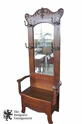 Antique Quartersawn Oak Arts Crafts Carved Hall Tree Seated Bench Beveled Mirror