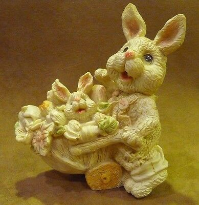 Mama Bunny Pushing Cart Filled With Flowers And Baby Bunny Figurine