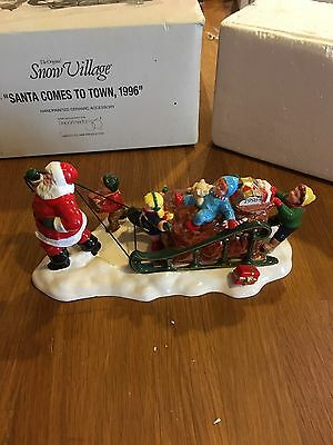 "Department 56 Snow Village Accessory ""santa Comes To Town 1996"" 54862 Mib"