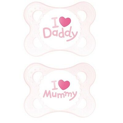 Mam PINK Soother, I Love Mummy/Daddy Silicon BPA FREE 0 + 6 + Months