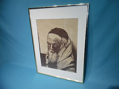 framed 1989 I.Pearlstein Rabbi sketching drawing Judaica image painting Art