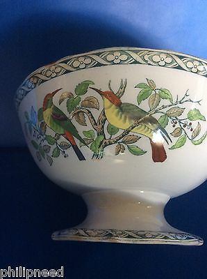 ANTIQUE PEARLWARE FOOTED FLUTED PUNCH BOWL c1820s-30s BEE EATER BIRDS DECORATION