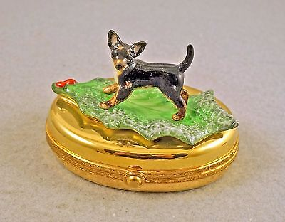 New French Limoges Trinket Box Chihuahua Dog Puppy On Christmas Holly Leaf