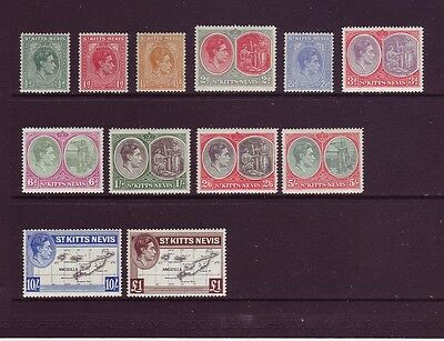 ST KITTS-NEVIS 1938-50 KGVI Definitive Set of 12 SG68a-77f LMM CV £85
