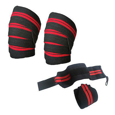Weight Lifting Elasticated Knee Wraps Wrist Wraps Bandage Support Gym Straps