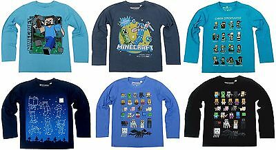 Boys Official JINX MINECRAFT Long SLEEVE T- Shirt Top 7 8 9 10 11 12 13 14 Years