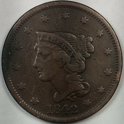 1842 Braided Hair Liberty Head Large Cent - Nice Copper Coin