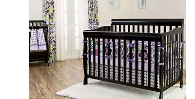 Convertible 5-in-1 Fixed-Side Crib Black Toddler Bed Nursery Furniture Newborn