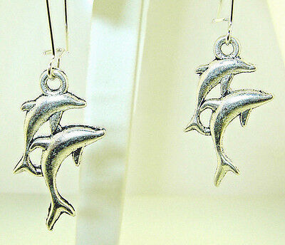 "New  Delightful Double  Jumping  DOLPHINS  Silver-tone  Dangle Earrings  2"" long"